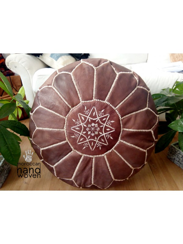 Moroccan POUF  with White Stitching - Dark Brown  -  Unstuffed pouf