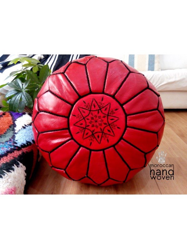 Moroccan Red POUF - with Black Stitching - Leather Pouf ottoman pouf