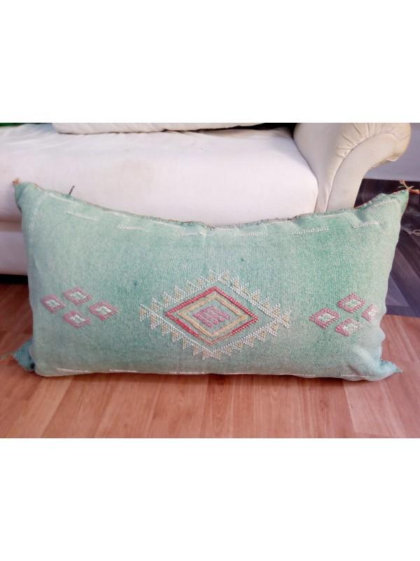 LUMBAR Sabra silk large Moroccan sabra CACTUS Silk pillow - Primary Green pillow unstuffed