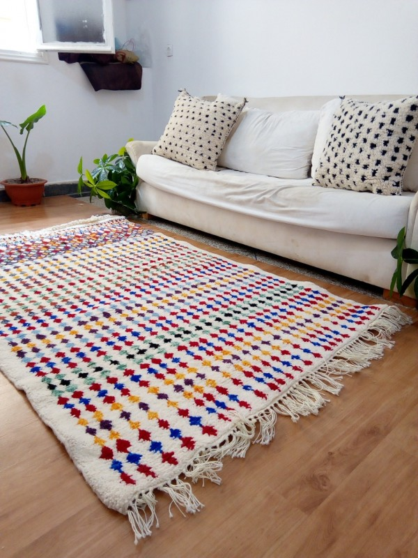 Moroccan Hand Woven Rug - Beni Ourain Style - Colored Pattern Carpet  - Wool - 190 X 120cm