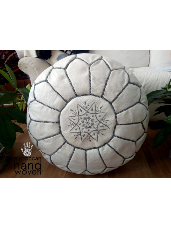 Moroccan white  POUF grey Stitching - Leather Unstuffed pouf