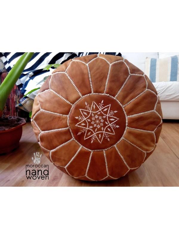 Moroccan tan handmade pouf( (ottoman) unstuffed