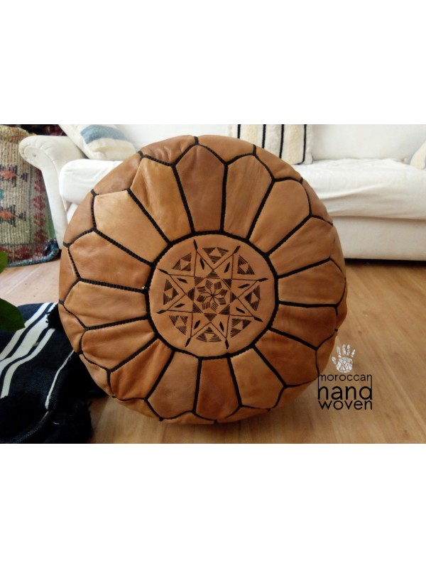 POUF From Marrakesh with black Stitching ( (ottoman) unstuffed