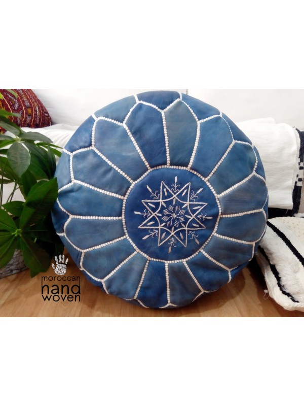 Moroccan Blue Jeans Color - with white Stitching - Leather Pouf ottoman pouf