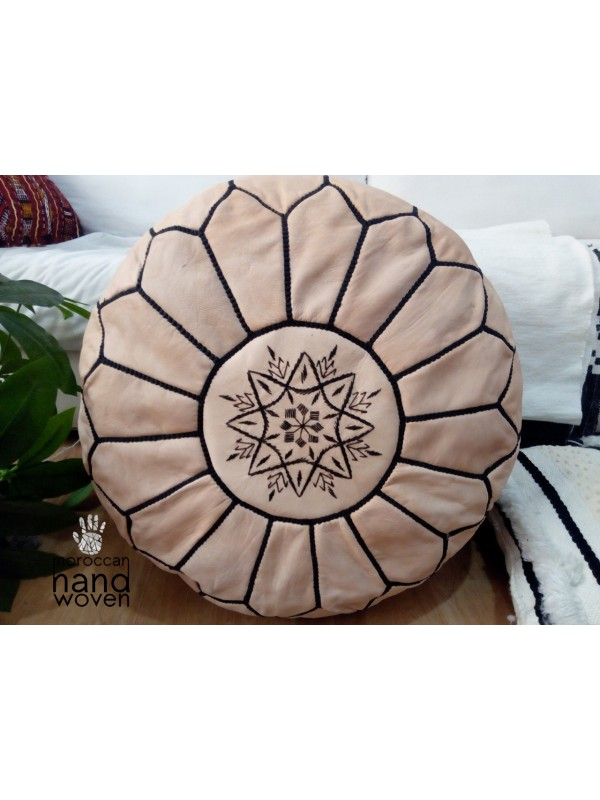 Moroccan natural POUF - beige with black Stitching Leather Pouf