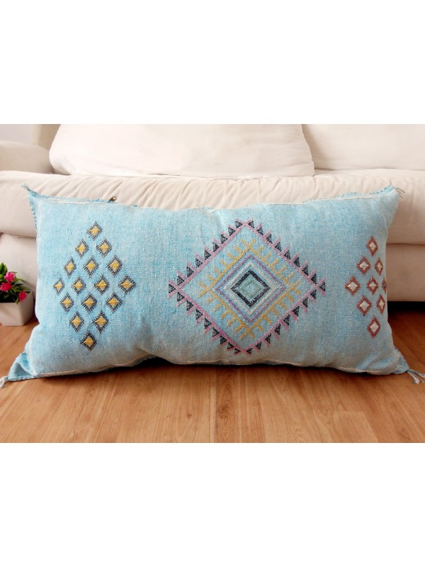 LUMBAR Sabra silk large Moroccan sabra CACTUS colred pattern - Ligth Blue pillow unstuffed