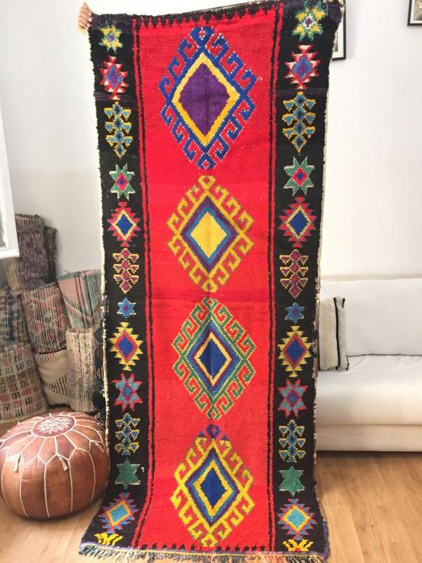 Vintage Moroccan Boucherouite (Boucheroute) Rug - Authentic rugs - Natural Wool - 250 X 100cm