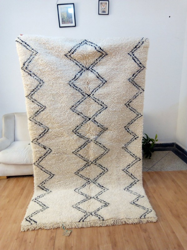 Beni Ourain Rug Style with Waves & Diamond Pattern - Full Wool - Shag Pile -  Wool - 241 X 134cm
