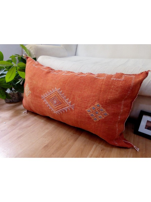 LUMBAR Sabra silk large Moroccan sabra CACTUS cushion - orange pillow  - unstuffed