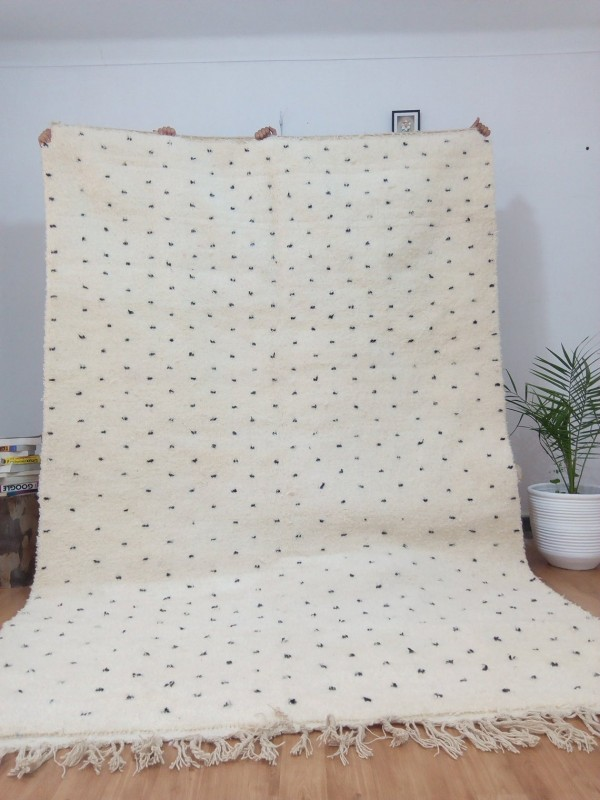 Moroccan hand woven Beni Ourain Style - Hand Woven Wool Rug - Black Dots - 328X208cm
