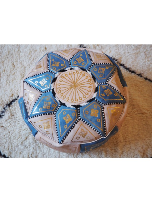 blue leather handmade pouf( (ottoman) unstuffed