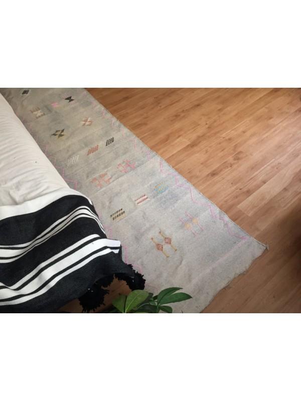 Gray sabra Runner, Moroccan sabra carpet (9.1 x 2 ft) silk Rug Moroccan Boho Moroccan Style Runner rug