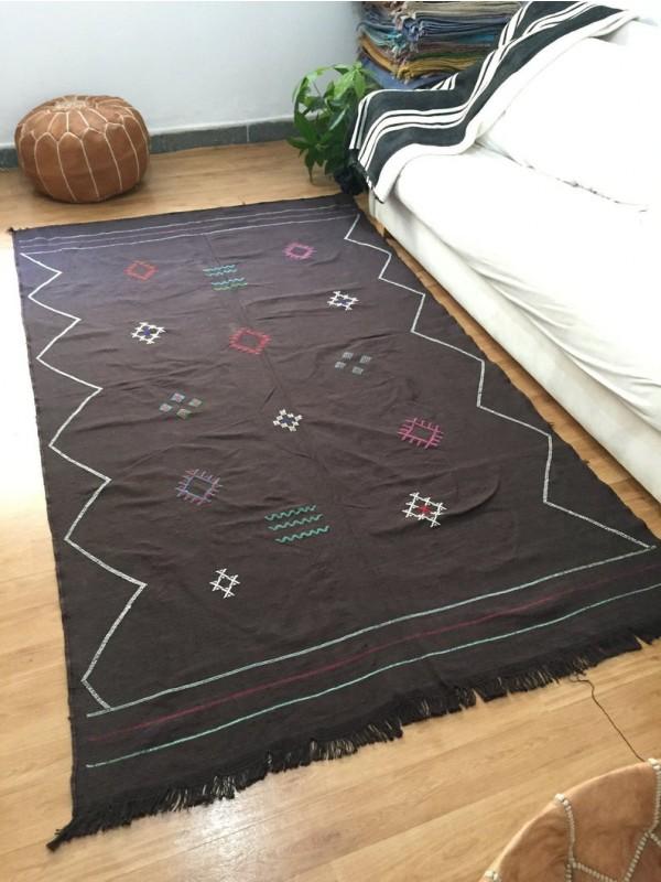 Brown sabra rug, Moroccan sabra carpet, silk Rug Moroccan Boho Moroccan Style rug Dark brown rug