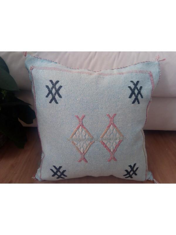 Cactus Sabra silk  Moroccan sabra CACTUS Silk pillow - Light Blue cushion unstuffed  - 44 X 42 CM