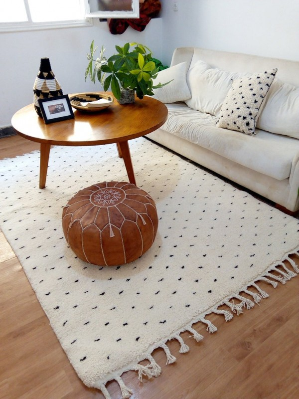 Moroccan Handmade Rug - Dot Pattern Design  - Shag Pile - 300 X 200cm