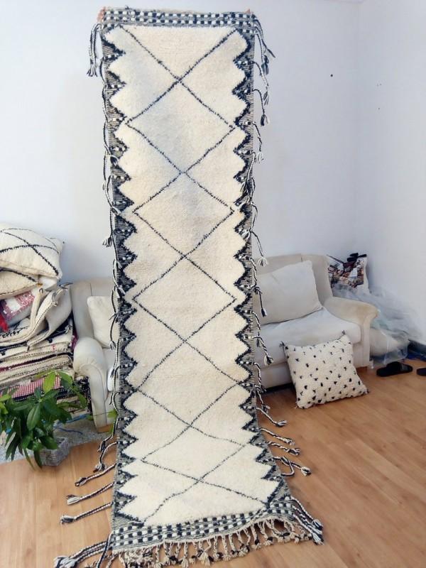 Moroccan Runner Carpet - Art Design -  Beni Ourain Style - Full Wool - 315 X 84cm