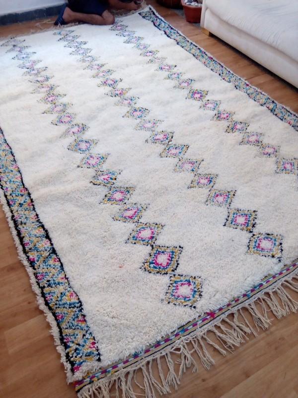 Beni Ourain Style - Colored Design  - Moroccan Carpet - Full Wool - 320X 201cm