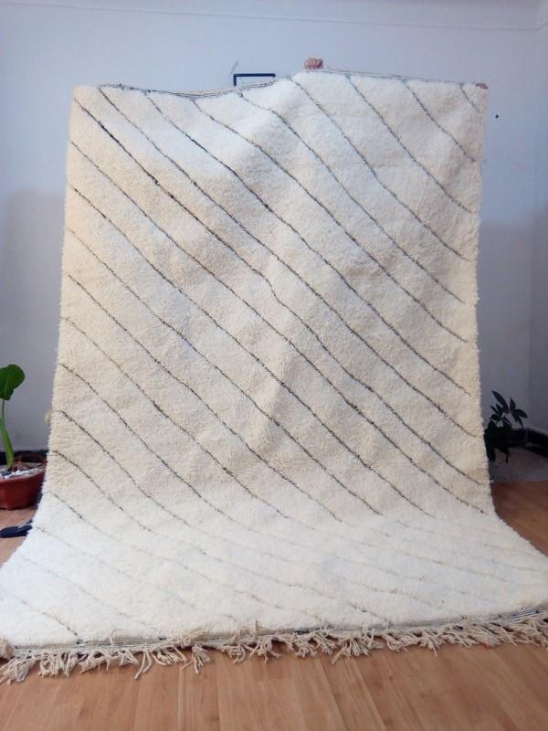 Moroccan beni ourain style - Parallel lines Design rug  - berber carpet - full  wool - 306 X 207cm