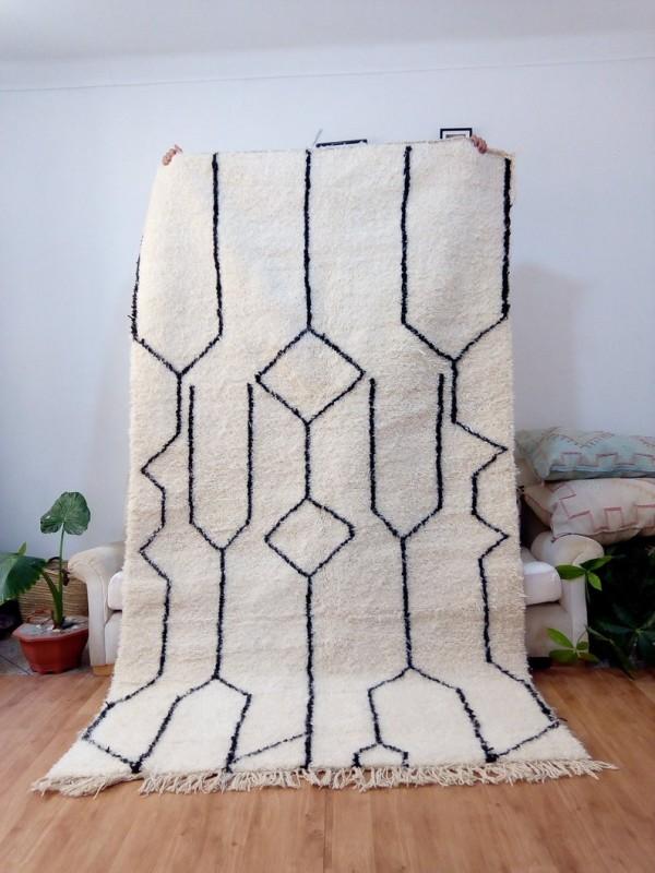 Moroccan Beni Ourain Style - Tribal Rug - Nice Pile - Full Wool - 272 X 155cm