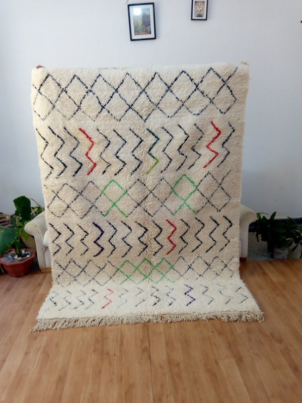 Beni Ourain Style - Colored Stripes  - Moroccan Carpet - Full Wool - 223 X 163cm
