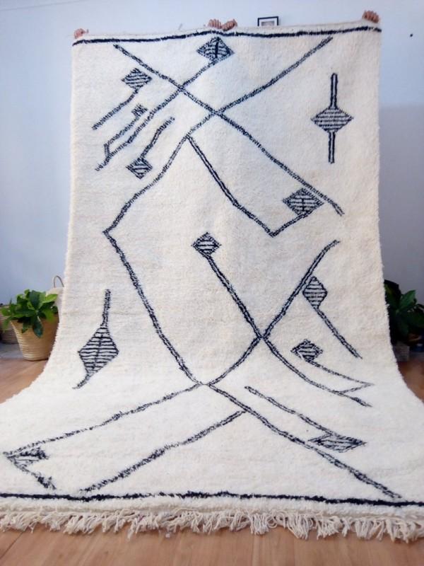 Moroccan Rug - Beni Ourain Style - berber rugs - Diamond Pattern -  Full Wool - 340 X 195cm