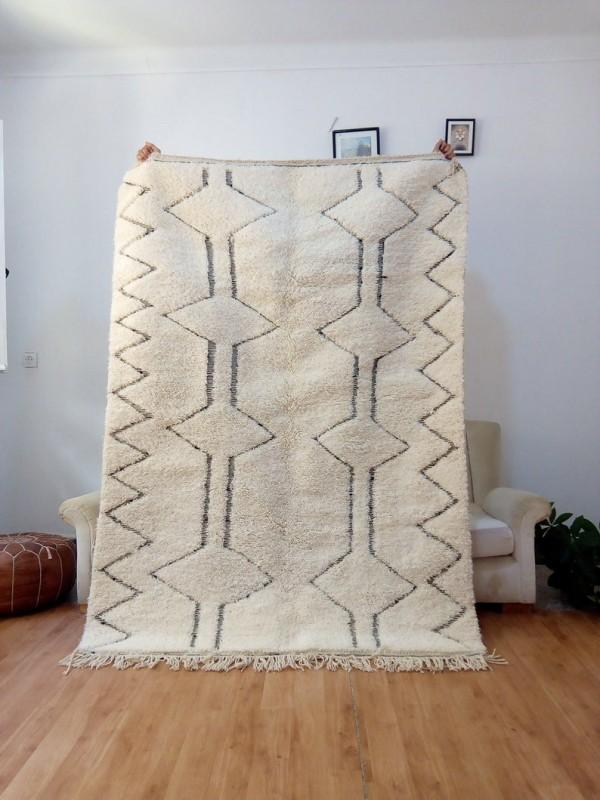Beni Ourain Style -  Berber Rug  - Shag Pile - Full Wool - 220 X 155cm