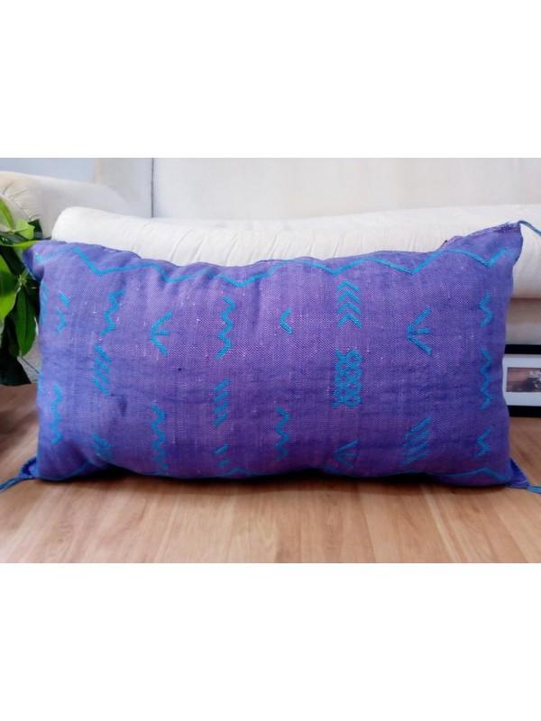 LUMBAR Sabra silk large Moroccan sabra CACTUS cushion - purple pillow  - unstuffed