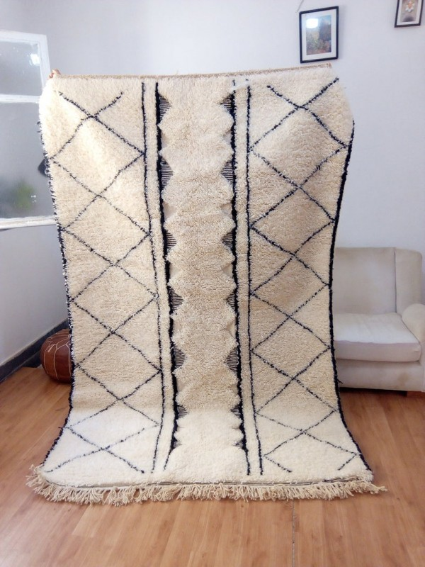 Moroccan Rug - Beni Ourain Style - Tribal Rug - Thick Art Design  - Full Wool - 247 X 160cm