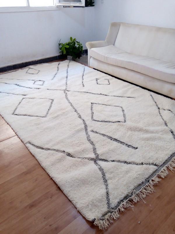 Moroccan Beni Ourain - Tribal Rug Style - Berber design - Full Wool  - 313 X 200cm