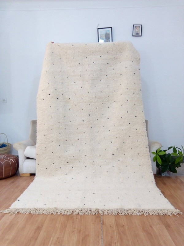 Berber Carpet - Moroccan Dot Rug - Wool - Beni Ourain Style - 276 X 158cm