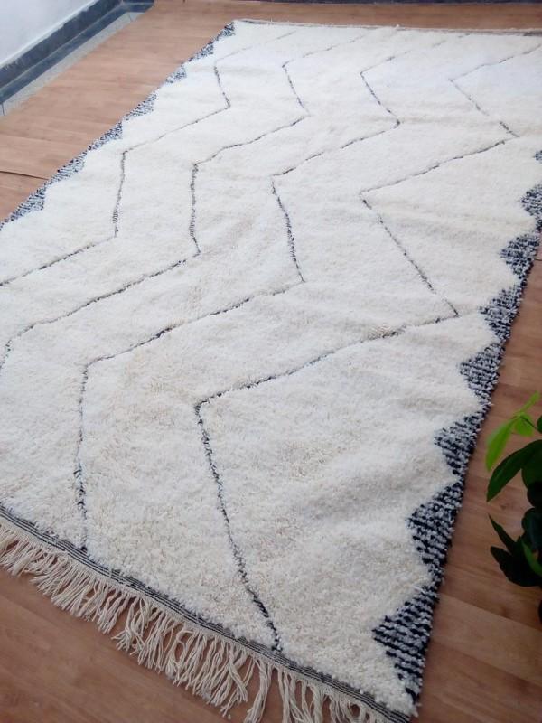 Moroccan Beni Ourain Style - Tribal Rug - Waves Design - Shag Pile - Full Wool - 310 X 201cm
