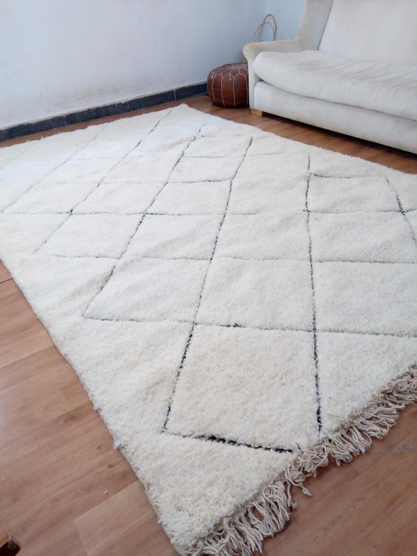 Moroccan beni ourain style - authentic  moroccan rug (teppich - tapis)  - Full Wool - 308 X 198cm