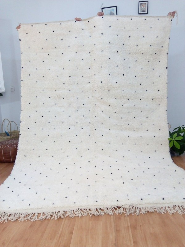 Moroccan hand woven dot rug - Beni Ourain Style- Full Wool - 307 X 208cm
