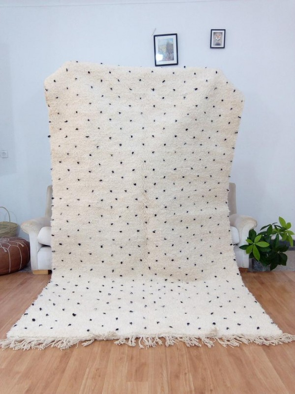 Moroccan hand woven dot rug - Beni Ourain Style- Full Wool - 270 X 161cm