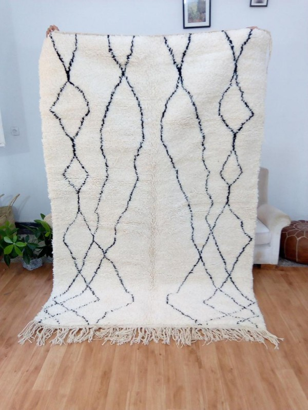 Berber Rug Fom Morocco - Style beni ourain - Art Design - Full Wool  - 235 X 157cm
