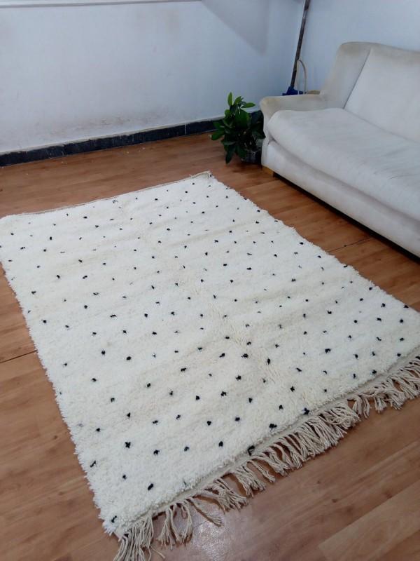 Beni Ourain Style - Hand Woven Wool Rug - Black Dots Carpet - Tribal Rug - 200 X 153cm
