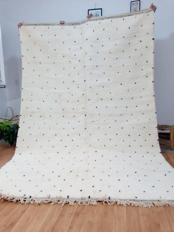Moroccan hand woven dots rug - Beni Ourain Style- Full Wool - 300 X 200cm approx