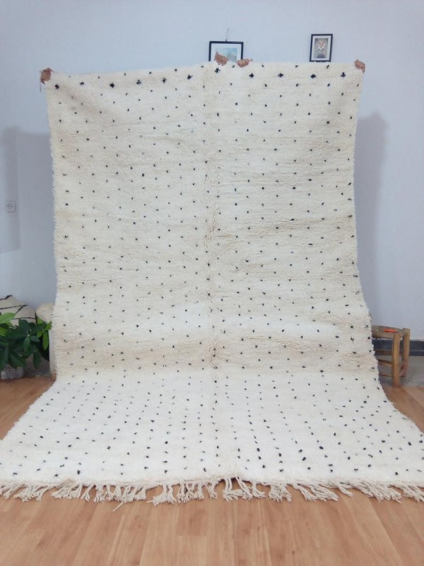 Moroccan hand woven dot rug - Beni Ourain Style- Full Wool - 312 X 202cm