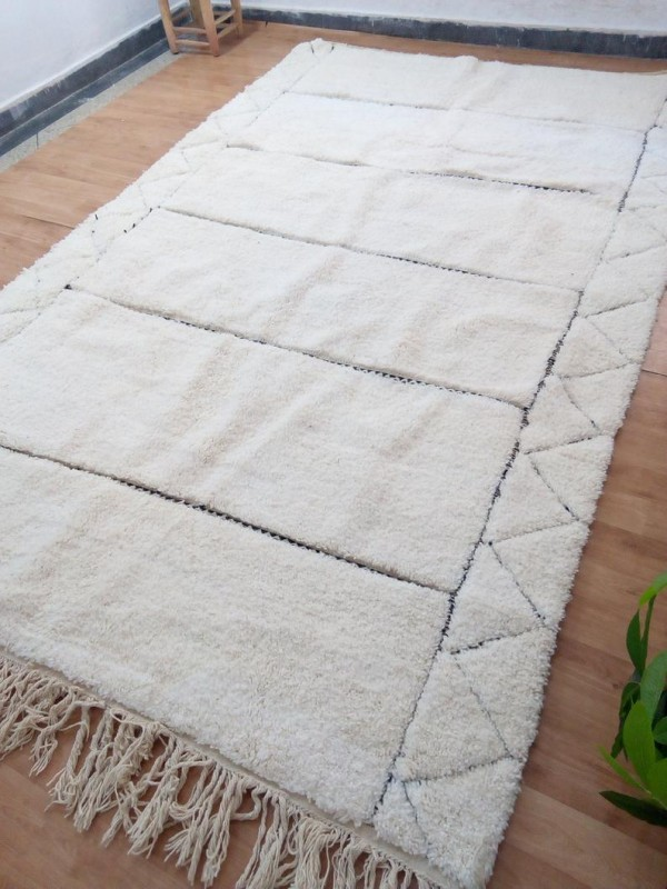 Large Berber Rug  - Style  Beni Ourain  - Shag Pile - Full Wool - 324 X 202cm