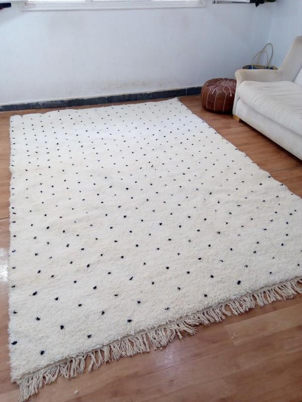 Berber Carpet - Moroccan Dot Rug - Wool - Beni Ourain Style - 294 X 195cm
