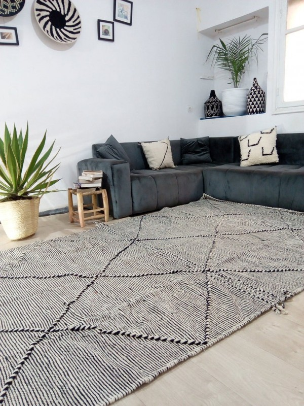 Moroccan zanafi rug berber style Hand Knotted - Full Wool - 306x183 CM