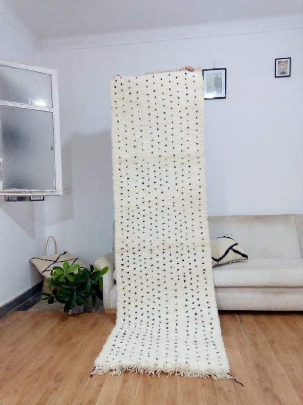 Moroccan Beni Ourain Tribal - Handmade Runner Rug - Dots design - Full Wool - 280 X 80cm