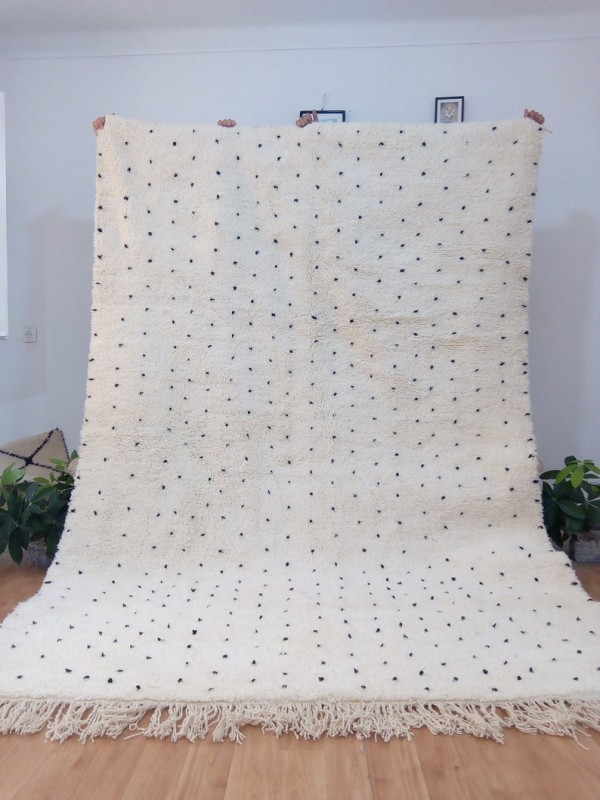 Moroccan hand woven Beni Ourain Style - Hand Woven Wool Rug - Black Dots - 300X200cm