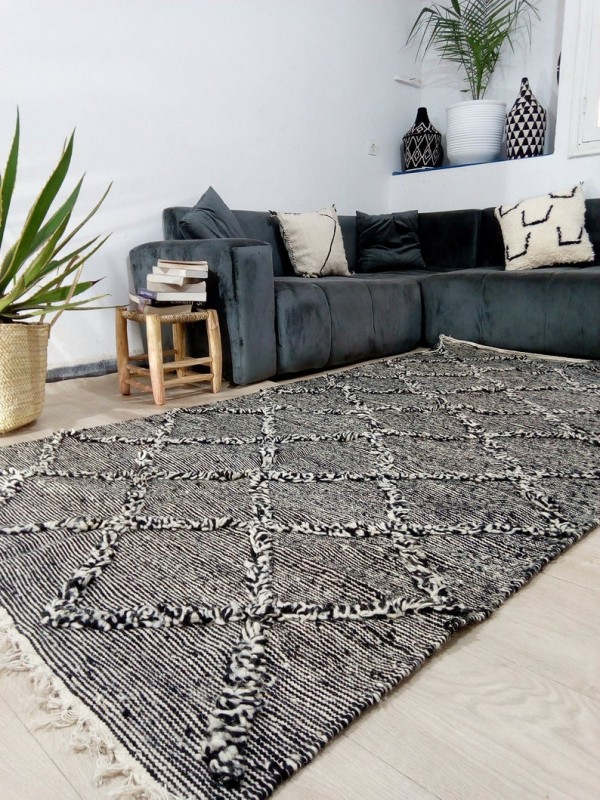 Moroccan zanafi rug berber style Hand Knotted - Full Wool - 260x144 CM