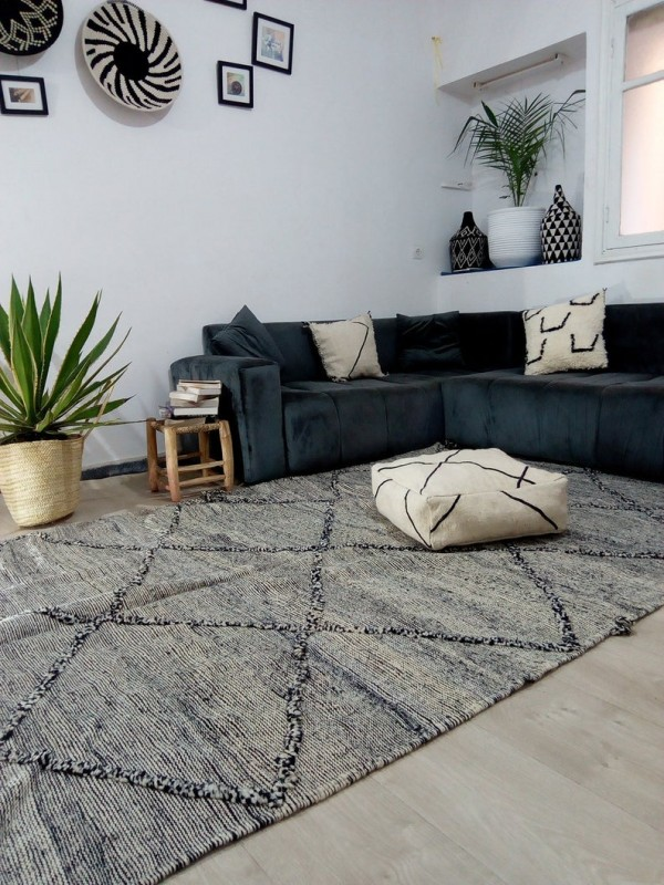 Moroccan zanafi rug berber style Hand Knotted - Full Wool - 340x182 CM