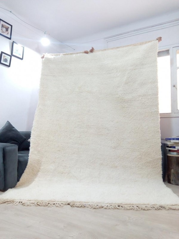 Beni Ourain Style - Uni Color - Tribal Rug - Shag Pile - Wool - 295 X 203cm