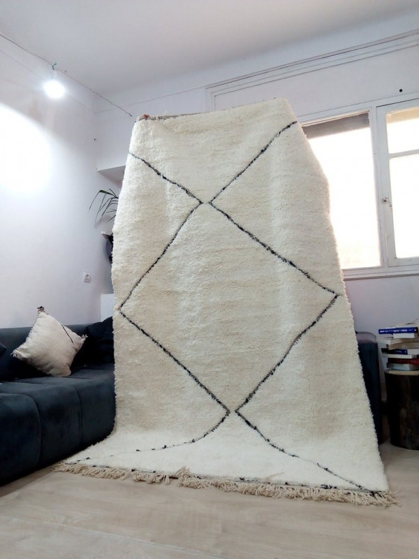 Berber Rug - Style Beni Ourain  - Art Design Pattern - Full Wool - 274 X 161cm