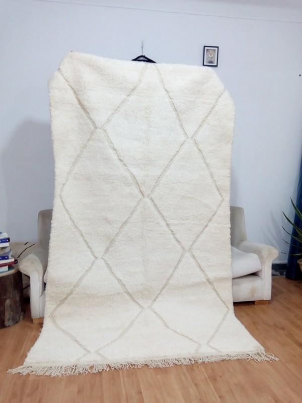 Berber Rug - Style beni ourain  - Uni color - Moroccan rugs - Wool Carpet - 258 X 146cm
