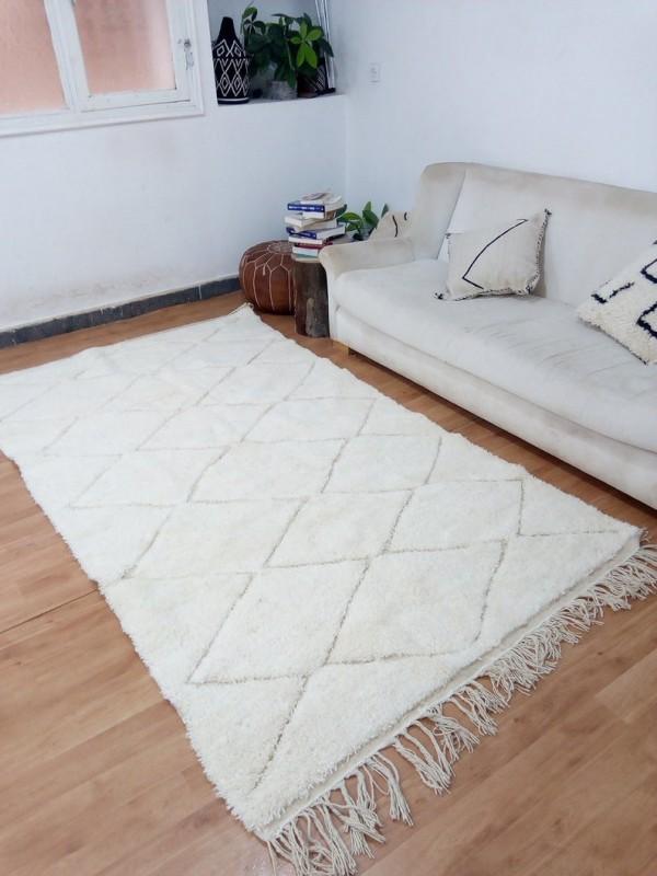 Beni Ourain Style - Hand Woven Wool Rug - Uni Faded Carpet - Tribal Rug  - 260X144cm