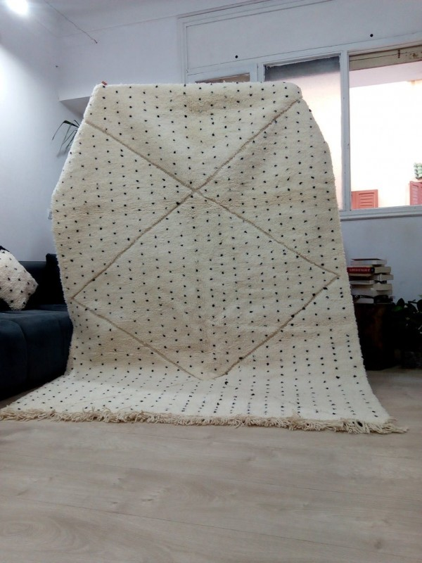 Moroccan hand woven dot rug - Beni Ourain Style- Full Wool - 243 X 176cm